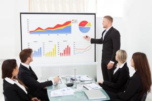 man giving a presentation using visual data