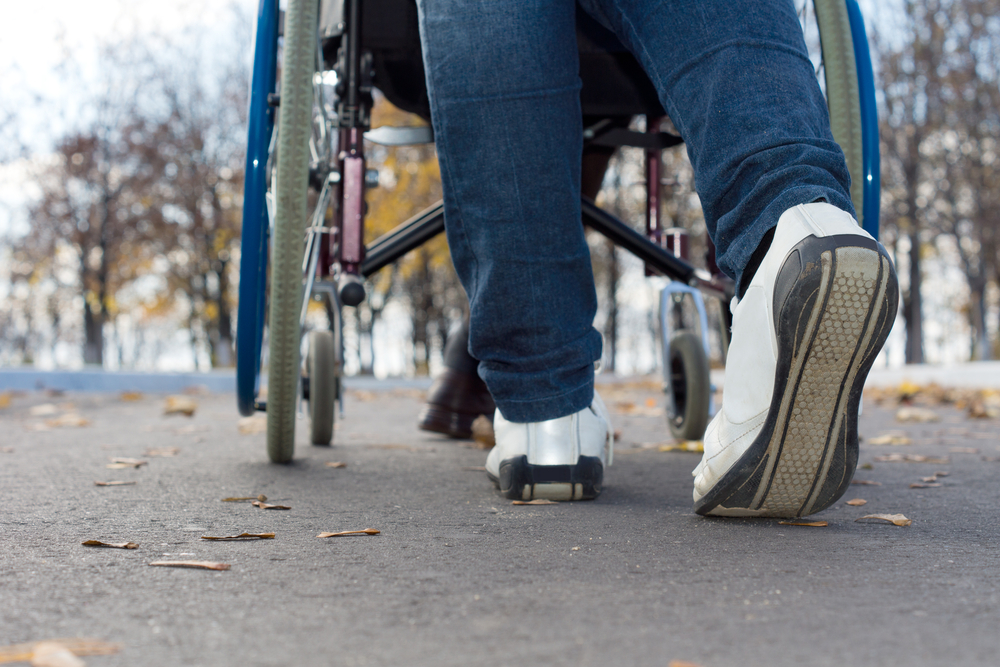 pushing wheelchair