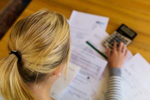 lady using calculator
